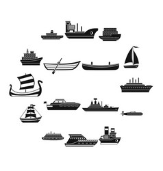 Sea transport icons set simple style vector