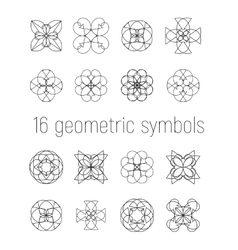 Set of 16 linear geometric symbols vector