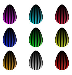 Set of colorful striped glowing eggs vector