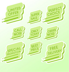 set of minimalist graphic sale stickers vector image