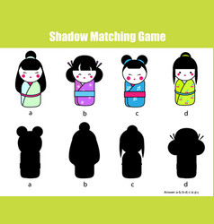 shadow matching game find the right shadow vector image