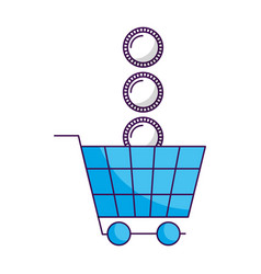 shopping cart coins money white background vector image