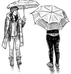 sketch teens girls meeting in rain vector image
