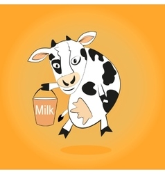Smiling cow gives milk bucket vector image