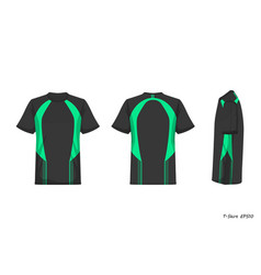 Sport shirt front back side view isolated on vector