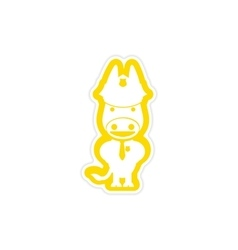 Stylish paper sticker on white background donkey vector