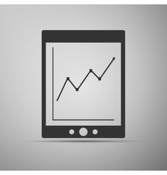 Tablet with business charts icon vector image