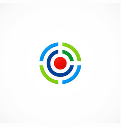 Target line round game technology logo vector