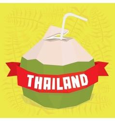 Thailand coconut cocktail postcard vector image