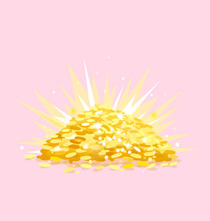treasure with heap gold coins vector image