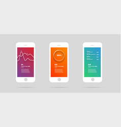 Ui kit concept mobile app colorful infographic vector