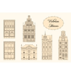 Victorian houses in monochrome vector
