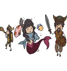 vikings and mermaid vector image