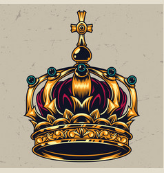 vintage colorful ornate royal crown concept vector image