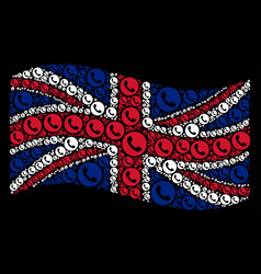 Waving uk flag mosaic of phone number items vector