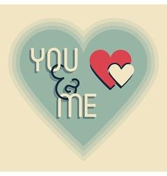 you and me heart emlem on beige design element vector image