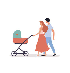 young parents with pram vector image