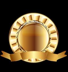 Gold seal ribbon emblem element vector image vector image