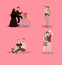 set of characters couuple showing love enjoy time vector image