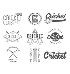 Set of cricket team emblem and design elements vector image vector image