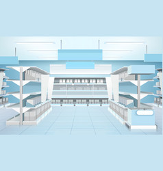supermarket interior design composition vector image vector image
