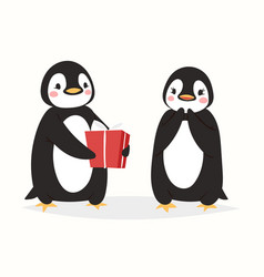 christmas cute penguin character cartoon vector image