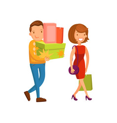happy couple shopping family shopping in a mall vector image