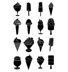 Ice cream black icons set vector image vector image