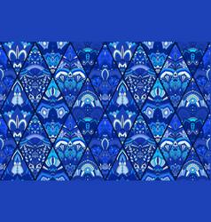Blue tile background floral pattern vector