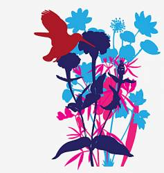 designer flowers with tropical bird vector image vector image