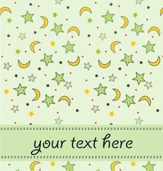moon star with on invitation card vector image vector image