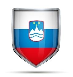 Shield with flag slovenia vector