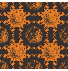 with lion and baroque ornaments in Victorian style vector image