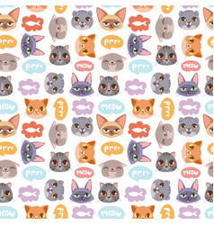 cats heads seamless pattern vector image
