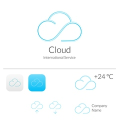 Cloud Stylish Logo and Icons Concept vector image vector image