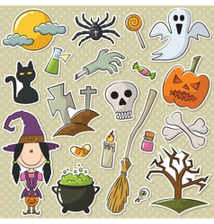 Halloween objects stickers set vector image
