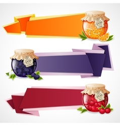 Jam origami banners set vector image