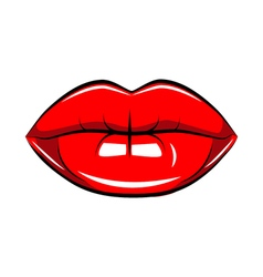 Pop art lips isolated Warhol style poster Black vector image vector image
