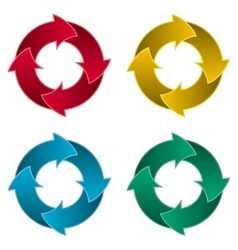 Ring of four arrows colorful arrow circle vector