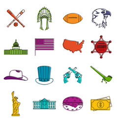 Usa icons doodle set vector
