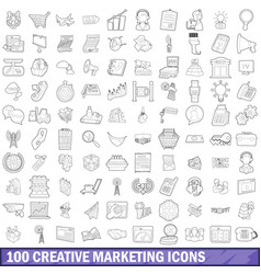 100 creative marketing icons set outline style vector image