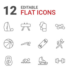 12 athletic icons vector