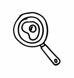 A fry pan with an egg vector