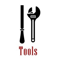 Adjustable wrench and rasp black icon vector image vector image