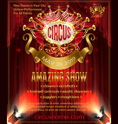 Advertising poster for circus amazing show vector
