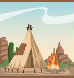 American indian cartoon in desert vector