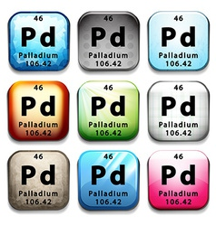 An icon with the chemical element palladium vector