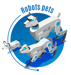 Animals robots isometric background vector