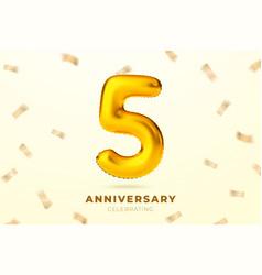 anniversary golden balloons number 5 vector image