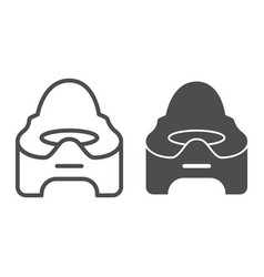 Baby potty line and glyph icon baby toilet vector